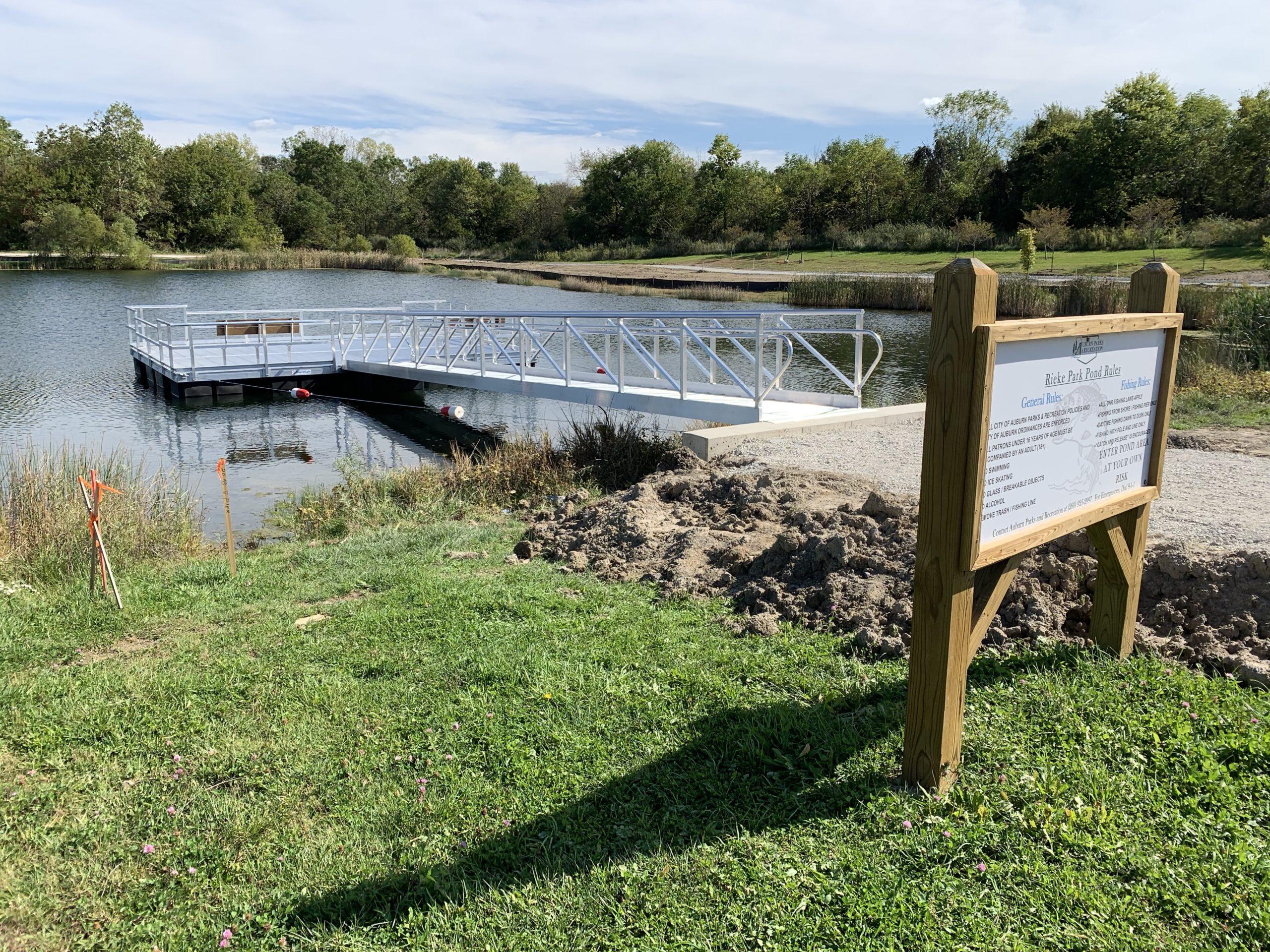 New Fishing Pier in Rieke Park, Auburn, IN